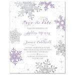 Purple, silver snowflake flourish winter wedding save the date invitation front