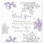 Purple, silver snowflake flourish winter wedding personalized favor tags front