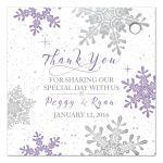 Purple, silver snowflake flourish winter wedding personalized favor tags back