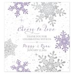 Purple, silver snowflake flourish personalized winter wedding wine bottle labels