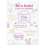 Doodle notebook paper birthday party invitation