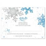 Royal blue, grey snowflake flourish winter wedding RSVP reply card front