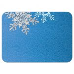 Royal blue, grey snowflake flourish winter wedding RSVP reply card back