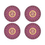 Best purple, hot fuchsia pink and gold ethnic wedding envelope seals or wedding favor stickers with scrolls, swirls, hearts and Hindu god Ganesh on it.