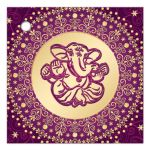 Best purple, fuchsia pink and gold Circle of Love east indian Hindu wedding favor thank you tag with scrolls, swirls, hearts and stars and Hindu god Ganesha.
