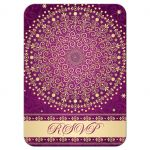 Best purple, hot pink and gold wedding rsvp card enclosure card with scrolls, stars, and polka dots