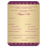 Great east indian wedding enclosure rsvp insert card in purple, fuchsia pink and gold