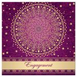 Best purple, fuchsia pink and gold engagement ceremony invitation with scrolls, stars, and polka dots