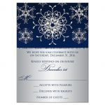 Winter wonderland wedding rsvp card in navy blue and silver snowflakes and glitter