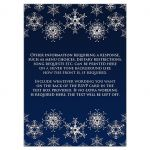 Affordable navy blue and silver glitter snowflakes wedding response cards