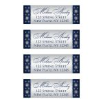 Best personalized navy blue and silver grey glitter snowflakes winter wonderland wedding return address mailing labels.