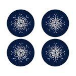 Best navy blue and silver grey glitter snowflake winter wonderland wedding envelope seal or favor sticker.