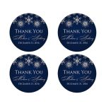 """Best 2"""" round personalized midnight navy and royal blue wedding favor thank you stickers with assorted silver FAUX glitter snowflakes."""