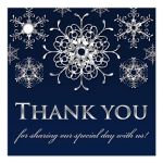 Best navy blue and silver grey winter wonderland wedding favor tag with glitter snowflakes