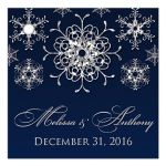 """Great 2.5"""" square personalized navy blue and royal blue wedding favor thank you tag with silver FAUX glitter snowflakes and pre-drilled hole."""
