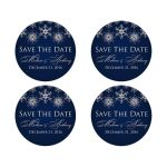 """Best 2"""" round personalized midnight navy and royal blue wedding save the date stickers with assorted silver FAUX glitter snowflakes."""