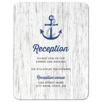Navy blue anchor nautical wedding reception insert card