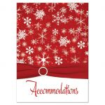 Great red and white snowflakes winter wedding accommodations enclosure card insert with ribbon and jewel buckle brooch.