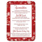Best red and white snowflakes winter wedding reception enclosure card insert with ribbon and jewel buckle brooch.