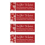 Best personalized red and white snowflakes return address mailing labels for a winter wedding.