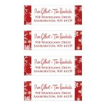 Best personalized red and white snowflakes return address mailing labels for a winter weddings.