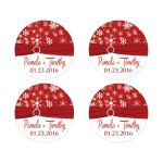 Best personalized red and white snowflakes winter wedding envelope seals or favor stickers with ribbon and jewel buckle brooch.