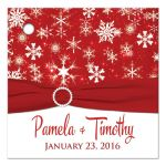"""Great 2.5"""" square personalized red and white snowflakes winter wedding favor tag with ribbon and jewel buckle brooch and pre-drilled hole."""