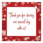 """Best 2.5"""" square personalized red and white snowflakes winter wedding favor tag with ribbon and jewel buckle brooch and pre-drilled hole."""