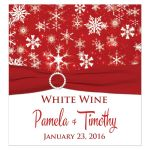 Great personalized red and white snowflakes winter wedding wine bottle or beverage bottle label with ribbon and jewel buckle brooch