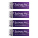 Great purple and silver gray Bat Mitzvah return address labels with metallic look flowers, silver butterflies and a Jewish Star of David.