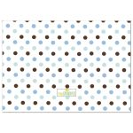 Blue and Brown Polka Dot Cupcake First Birthday Party Invitation