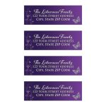 Great personalized purple and silver gray Bat Mitzvah return address labels with metallic look flowers and silver butterflies.