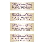 ​Best personalized purple and gold Bat Mitzvah return address labels.