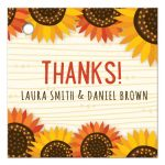 Whimsical yellow and orange-red sunflowers wedding favor thank you gift tag with personalized names