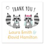 Cute racoon couple wedding favor thank you gift tags
