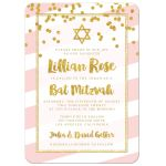 Pink Stripes and Gold Confetti Bat Mitzvah Invitations