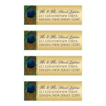 Best personalized blue and gold peacock feather return address mailing labels.
