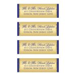 Best personalized royal blue and gold glitter return address mailing labels.