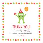 Cute monster birthday party thank you card for kids