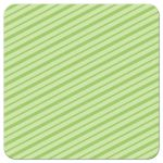Green, diagonal stripes. Back of funny monster birthday party thank you note for boys.