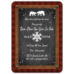 Great rustic winter woodland holiday party invites with red and black plaid, chalkboard, snowflakes, trees, leather, and two bears.