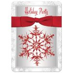 Best red, silver, white holiday party invitation with red ribbon, bow and glitter snowflakes