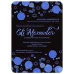 Star of David Blue Bokeh Lights Bar Mitzvah Invitation