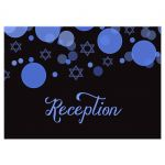 Star of David Blue Bokeh Lights Bar Mitzvah Reception Card
