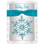 Best silver and white snowflakes winter holiday, corporate, fundraiser, or Christmas party invitation with a red ribbon and bow and red glitter snowflake.