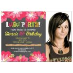 Luau Hibiscus Flower Chalkboard Photo birthday invitations