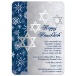 Best royal blue and silver grey hanukkah party invitations with silver star of david. and white snowflakes.