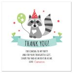 Personalized birthday thank you card featuring a little cute raccoon with balloon and party hat