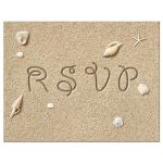 Beach Wedding RSVP Postcard on a beach sand background with seashells