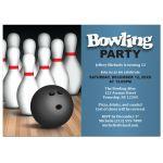 Birthday Party Invitations - Ball & Pins Blue Bowling